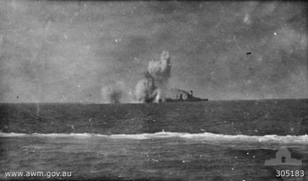Japanese forces bomb the Hr. MS Java (source: Australian War Memorial, ID nr. 305837)